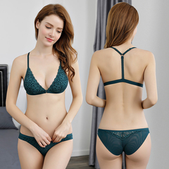 New front buckle Y-type beauty back deep V sexy no steel ring bra set thin lace underwear green 32/s