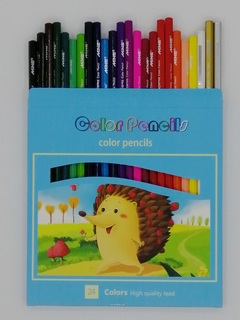 High quality Color Pencil School Student Children Color Lead Brush Set Stationery 12/24 Color blue 24 color