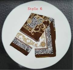 Square Scarf Hair Tie Band For Business Party  Elegant Head Neck Silk Satin Scarf 70*70cm(4 Gifts) Style 6