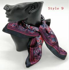 Square Scarf Women Flower Printed Head Scarf  fashion Neckerchief  50*50cm(1 Gifts) style 9