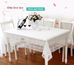 White  Lace Table Cloth  Wedding Decor  Translucent Table Cover  Embroidered  Tea Home Table Decor white 40*130