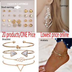 20 Style Earrings Fashion Strand Bracelets Multi Layer  Anklets For Women Charm Beach Jewelry one color one size