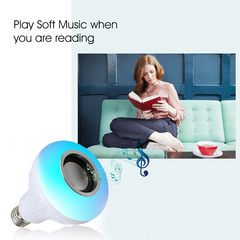 Wireless Bluetooth Speaker+12W RGB Bulb LED Lamp Smart Light Music Player Audio with Remote Control one color 12W e27
