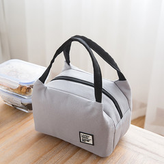 Portable Lunch Bag Thermal Insulated Lunch Box Tote Cooler Bag Bento Pouch school Food Storage Bags gray one size