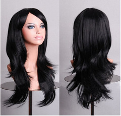 Synthetic Wigs Black New Fashion Hair Wigs Women Wigs Long Hair Wave Party black 22inch
