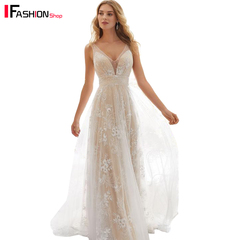 IFashion 1-item Sexy Bohemian Evening Gowns Party V-neck Tulle Lace Backless Maxi Ladies Dresses