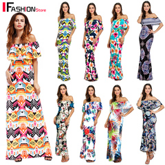IFashion Off Shoulder Wrapped Chest Party Maxi Long Dress for Women Strapless Evening Ladies Dresses 7259 Orange s