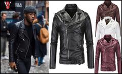 Fashion Motorcycle Jackets PU Leather Moto Jackets Zipper Lapel Biker Rider Leather Coat black 2XL