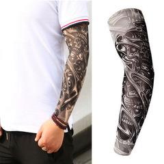 Fake tattoo sleeve length temporary tattoo with antiskid Stretch nylon tattoo Skeleton black design 1