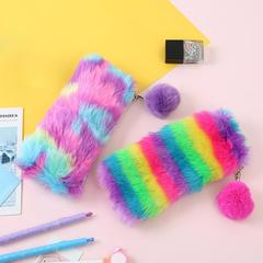 Colorful Bags Women Plush Leather Pen Bags Storage Cosmetics Stationery Case Pencil Bag Make Up Bags Rainbow Color 21x10.5x2cm