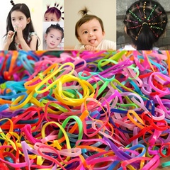 100pc Mini Elastic Rubber Hair Rope Hairband Ponytail Holder Hair Band Ties Braids Elastic Band Rope random color s size