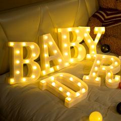 LED Lights 26 English Alphabet 9 Numbers LED Letter Lights Decor Lighted Get Marry Decor LED Light Warm Light A 4.5V