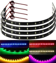 2pc 30cm 15-LED Car Trucks Motor Flexible Light Strips Night Light Strip Motorcycle Cool Light Strip red 1.5W