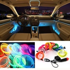 1M DIY 110V Auto Car Interior LED Wire Rope Tube Neon Light Line Car Light Wiring Kit Light Strip white 1M DC 12V
