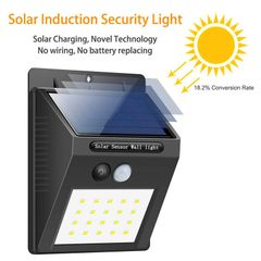 Generic Solar Powered 20-LED Wall Light with PIR Motion and Night Sensor Black 20LED 0.5W