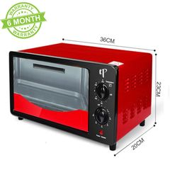 KP 6 Months Warranty Electric Oven Toaster 12L Capacity 1000W Power 36CM*20CM*23CM Black & Red 12L