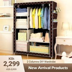 KP 2 Columns DIY Wardrobe Large Capacity Wardrobe Assemble Closets Portable Home Storage Black