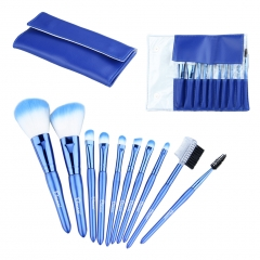 10pcs Pearl Blue High-grade Nylon Hair Makeup Brushes Set pearl bule
