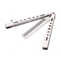 ( Buy 1 Get 3 Gifts ) Salon Stainless Steel Folding Practice Training Butterfly Combs Tool Silver 8 Inch