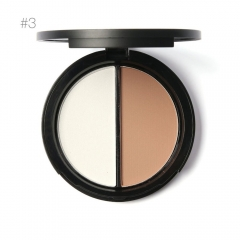 2 Different Color Concealer Makeup Bronzer Highlighter Blemish Cream Palette 3#