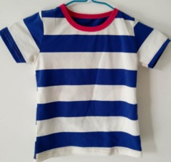 Baby Clothes BBoys Tee Shirt  Short Sleeve Shirts Tops Kids Boy Clothing 90 cotton Blue Red Stripe ks2 12-36months 90% cotton