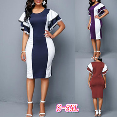 Sexy Office Dress Women Elegant Slim Vintage Plus Size Party Ladies Work Casual Summer Dresses s red