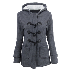 2019 new large size cotton women's long hooded wool blend horn leather buckle winter jacket female Dark gray s
