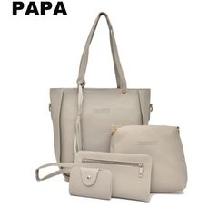 [Christmas Limited discount] IN STOCK 4 in 1 Women's Handbag Casual Shoulder Bag Sling Bag Purse light  grey 4 in 1