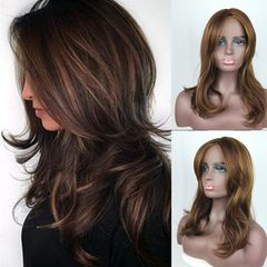 Lady wig golden brown highlight dyed gradient long curly hair Photo Color 20