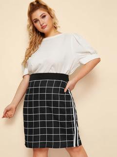 Check Pattern Versatile High Waist Slim  A-shaped Half-length Short Bag Hip Skirt As Picture 2XL
