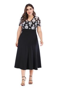 Summer dress women elegant Short Sleeve  Dresses Print A-Line dresses 3xl as picture