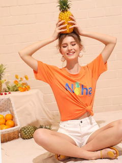 O-Neck T-Shirt Women Funny Graphic tshirt Summer Casual Hipster Orange Letter Print tees tops as picture xl