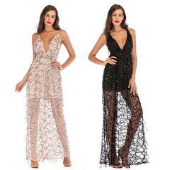 Women Sleeveless Evening Prom Party Slim Maxi Dress Deep V-Neck Sheer Glitter Sequins Backless black xl