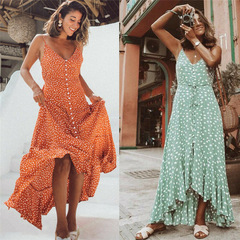 Fashion  Elegant Sleeveless Polka Dot high waist Dress xl Green