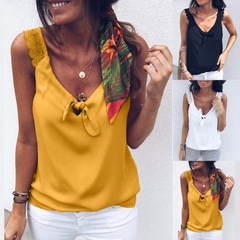 Fashion Women V-Neck Lace Top Elegant Sleeveless Summer Vest Loose Tank yellow s