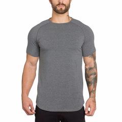 Fitness Clothing Brand Gyms Tight t-shirt mens Slim Fit t-shirt gray xl cotton
