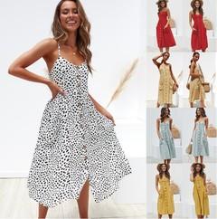 Simplee Elegant button women dress Pocket polka dots yellow cotton midi dress m yellow