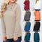 Sweater Women Casual Button Long Sleeve Pullovers Sweaters Solid Loose Scarf Collar Tops Khaki xl