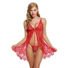 Sexy Lace Nightwear Erotic Lingerie Sleepwear Women Sleep Dress Halter Backless Babydoll Dress red s