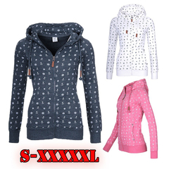 Women Floral Hooded Fleeces Hoodie Oversize  Print Zipper Jumper Casual Sweatshirt Tops dark blue l