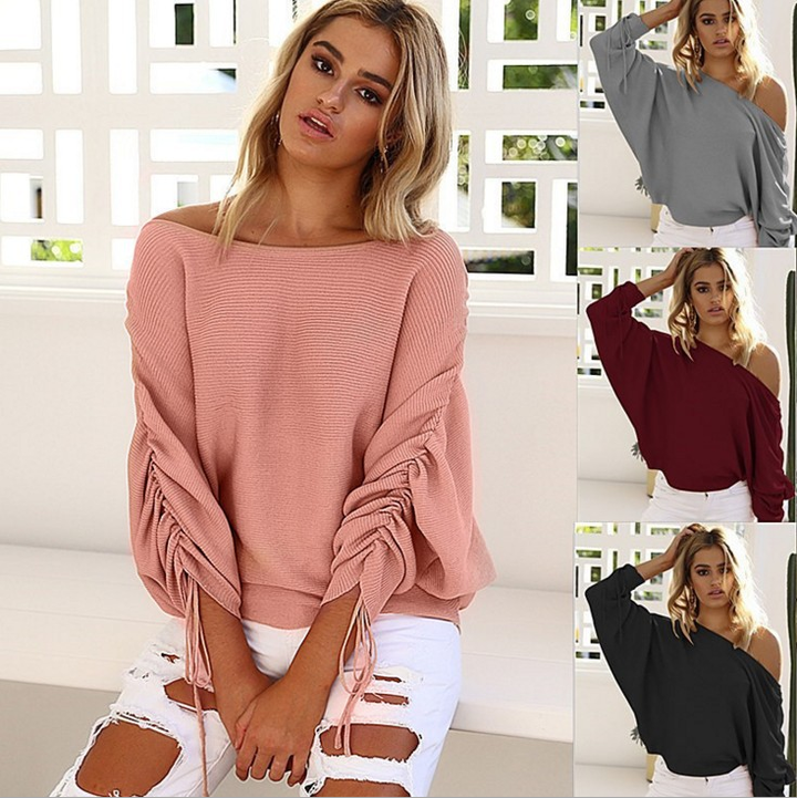 Women Sweater  Pullover One Shoulder Top Lace Up Batwing Sleeve Female Loose Clothing Women Sweater black s