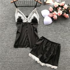 Women's Sleepwear Sexy Satin Set Black Lace V-Neck Pyjamas Sleeveless Cute Cami Top and Shorts black m