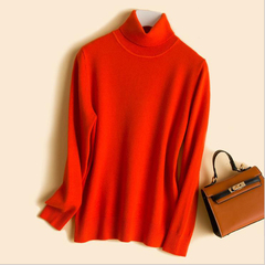 New Autumn and Winter Sweaters with Turn-over Collar and Body-Fitting Korean Bottom Shirt red s