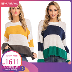 New Large Size Women's Stripe Colour Coloured Sweater Fashion Pullover Knitted Sweater in 2019 Navy Blue s