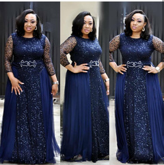 Daily dress with lace sequins, round collar and middle sleeves, evening dress, party dress L blue