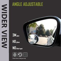 HD 360 Degree Wider Angle Adjustable Rearview Convex Mirror NO Blind Spot Rimless Mirrors silver 50mm