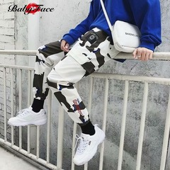 Baby face 2019 new fashion ins super fire white camouflage overalls hiphop pants Camouflage m