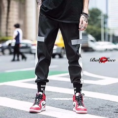 Baby face 2019 new fashion ins super fire trend hip hop reflective pants male black m