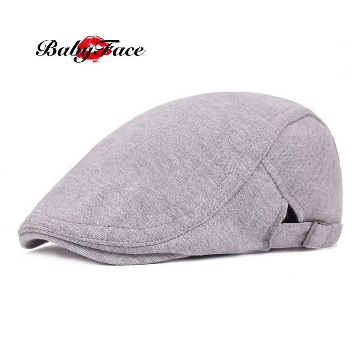 c7d796b4f Babyface beret male and female duck hat literary retro baseball cap visor  casual forward hat light grey adjustable