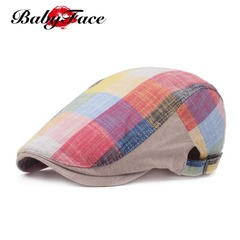 Babyface beret ladies cap men and women spring summer sunhat color plaid cloth forward hat Red parquet 55cm-60cm